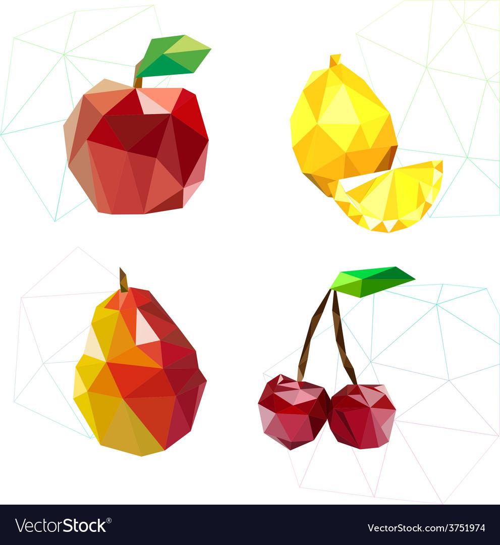 Set of juicy fruit polygon apple lemon cherry an vector | Price: 1 Credit (USD $1)