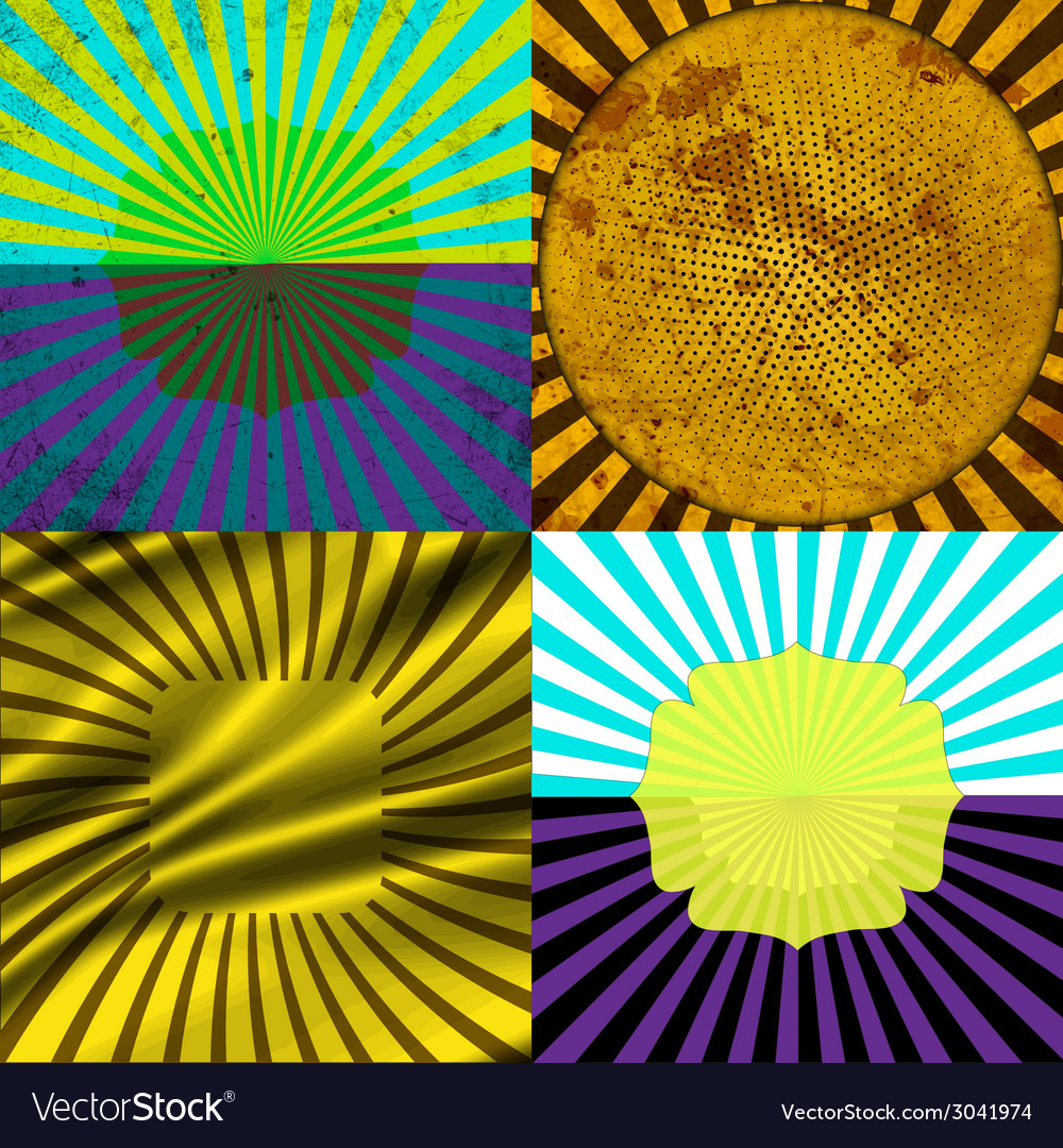 Set vintage colored rays background eps10 vector | Price: 1 Credit (USD $1)