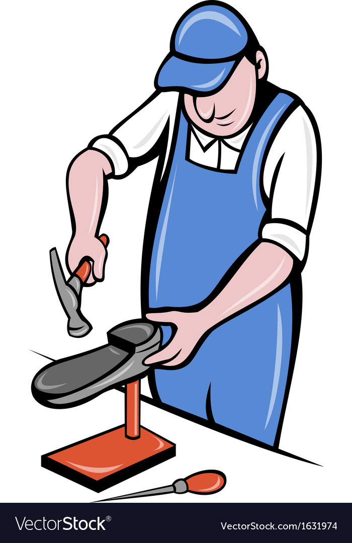 Shoemaker cobbler shoe repair working vector | Price: 1 Credit (USD $1)