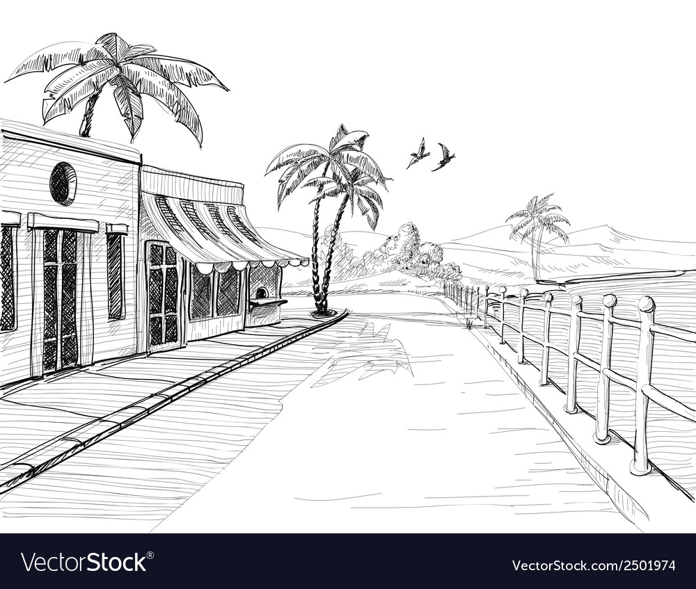 Small and quiet city at sea shore street view vector | Price: 1 Credit (USD $1)
