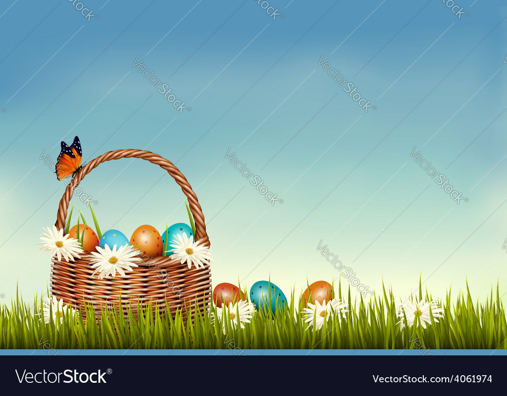 Spring easter background basket with easter eggs vector | Price: 3 Credit (USD $3)