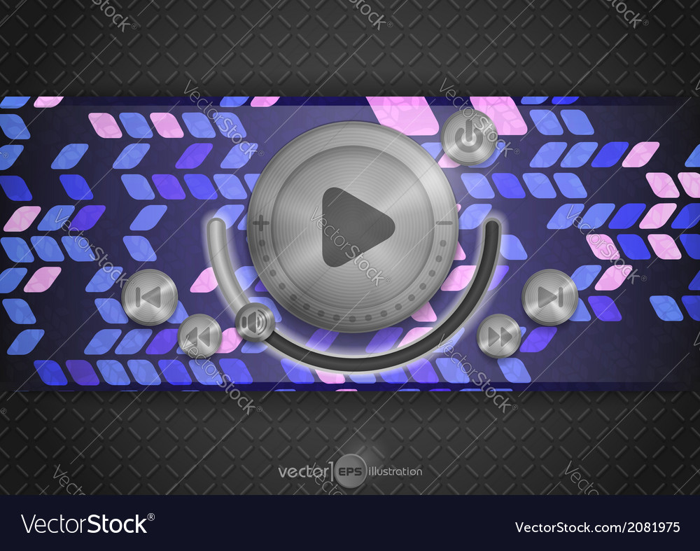 Abstract technology app icon with music button vector | Price: 1 Credit (USD $1)