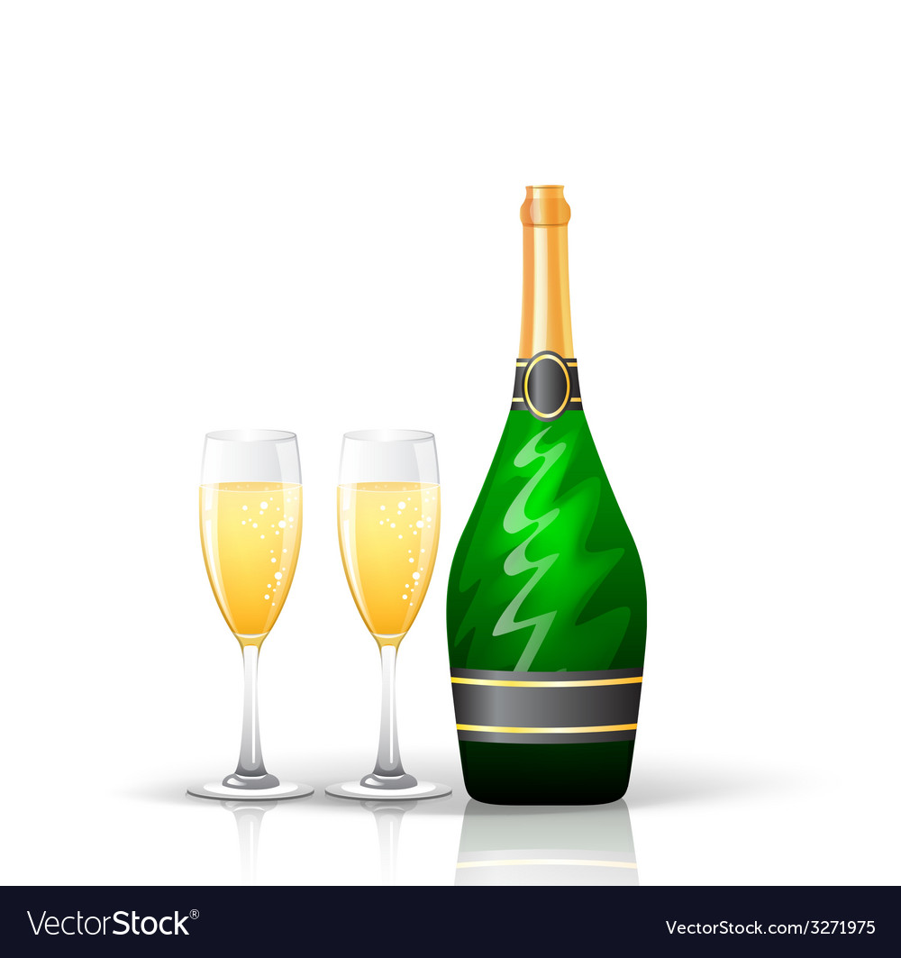 Champagne bottle and glasses vector | Price: 1 Credit (USD $1)