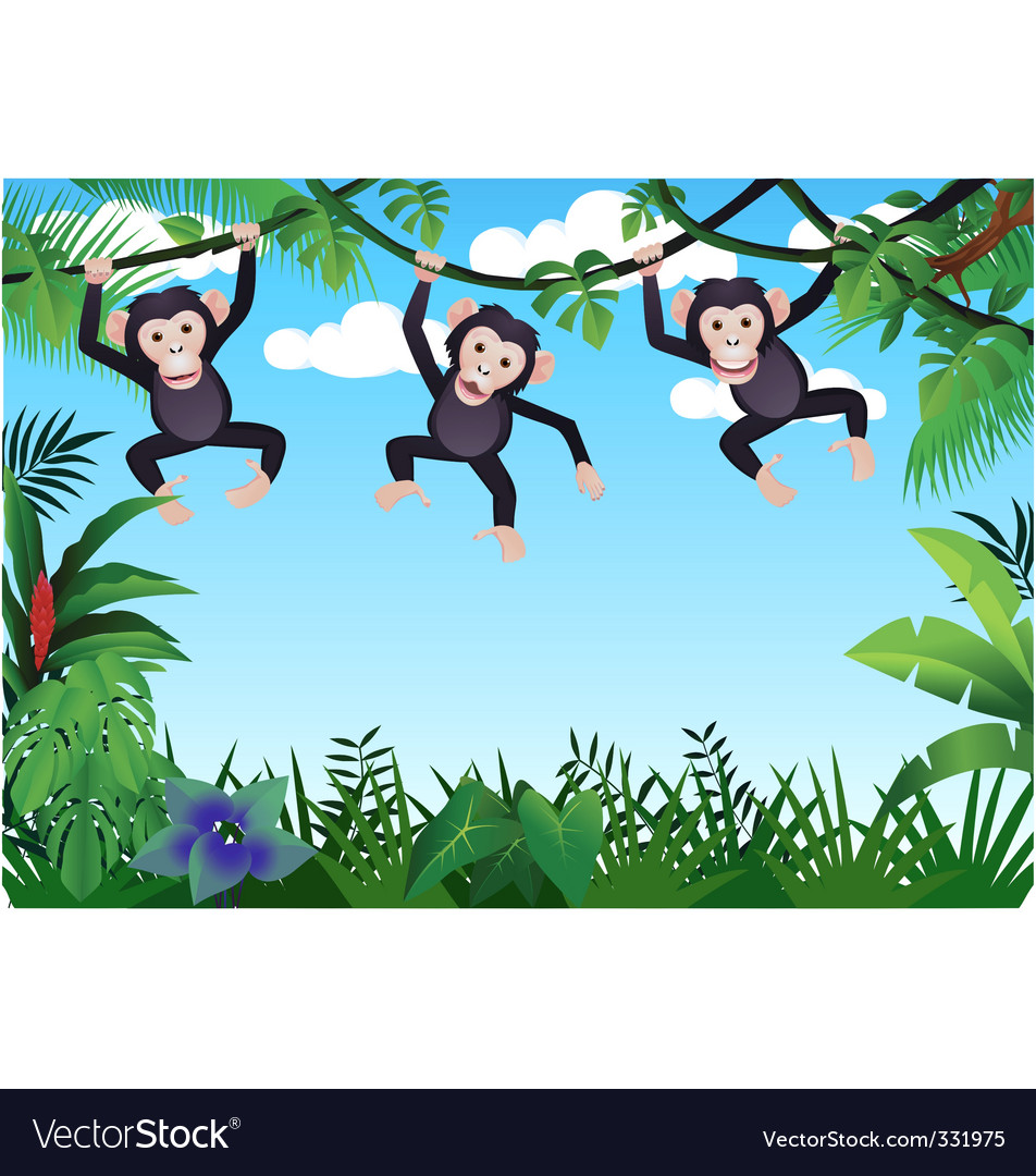 Chimpanzee cartoon vector | Price: 1 Credit (USD $1)