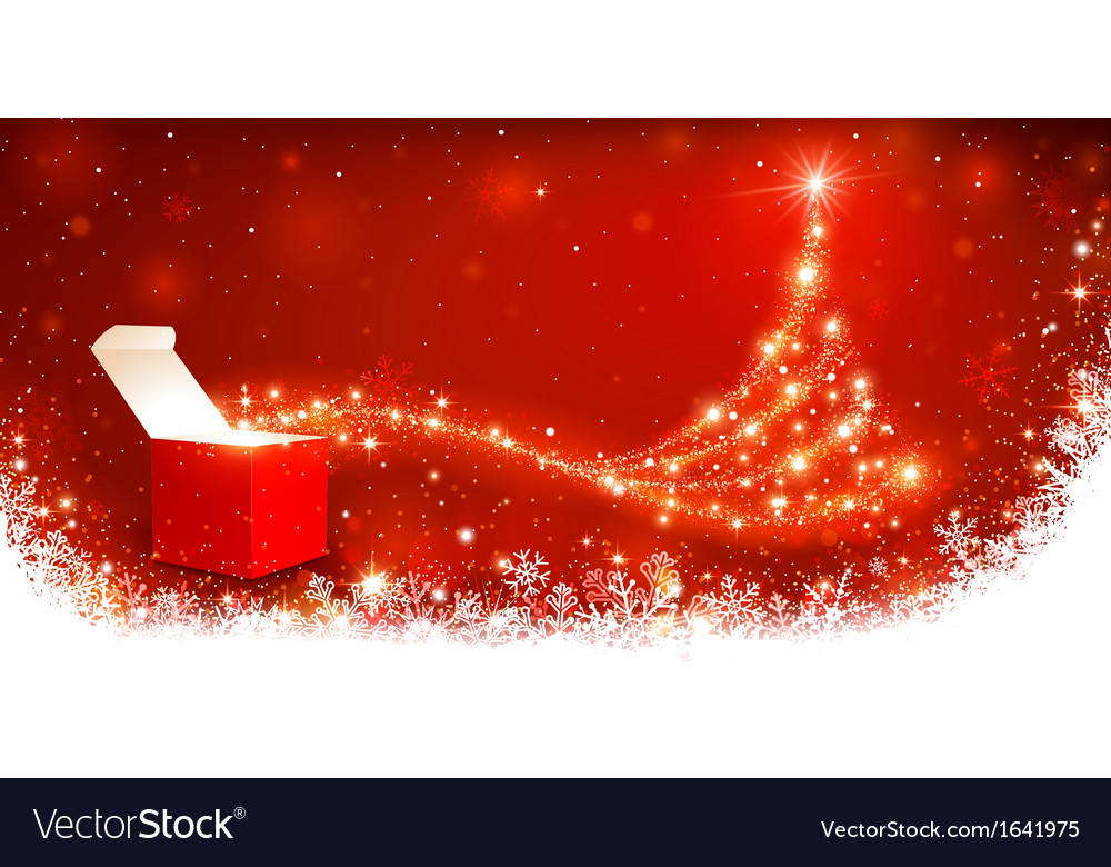Christmas background with magic box vector | Price: 1 Credit (USD $1)