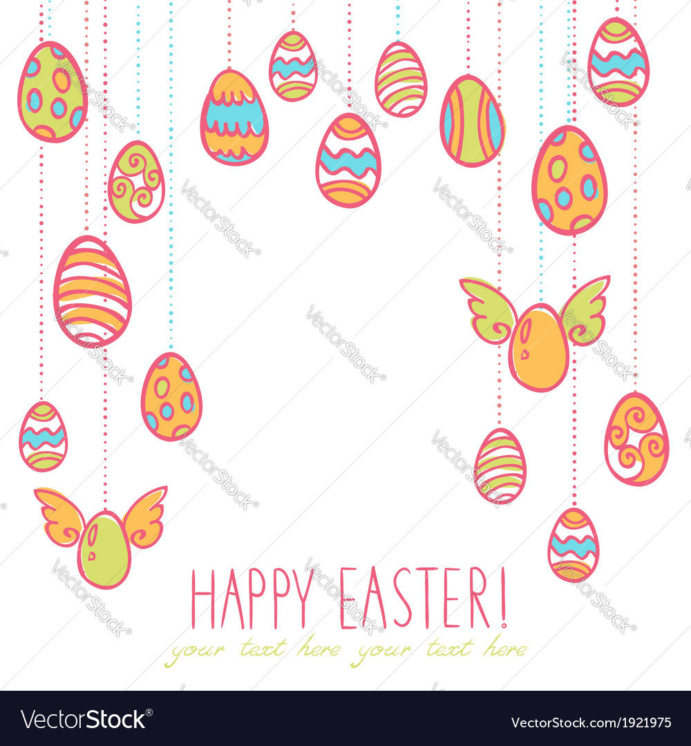 Easter eggs hanging on laces vector | Price: 1 Credit (USD $1)