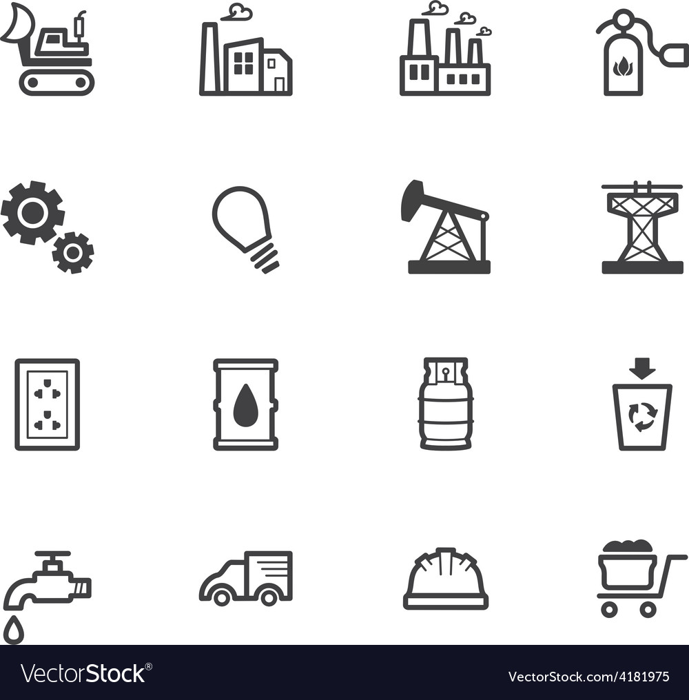 Factory element black icon set on white background vector | Price: 1 Credit (USD $1)