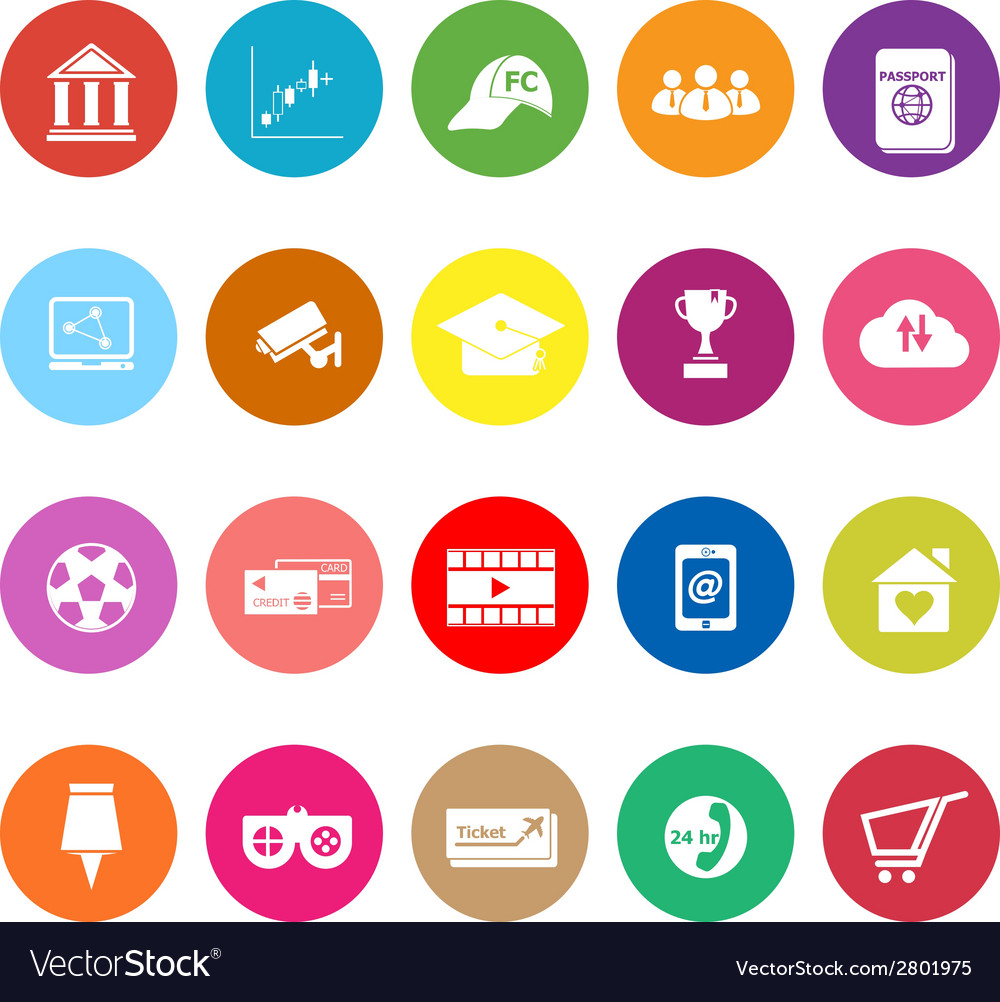 General online flat icons on white background vector | Price: 1 Credit (USD $1)