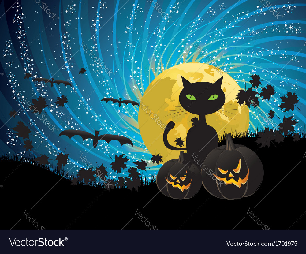 Halloween party background with cat vector | Price: 1 Credit (USD $1)