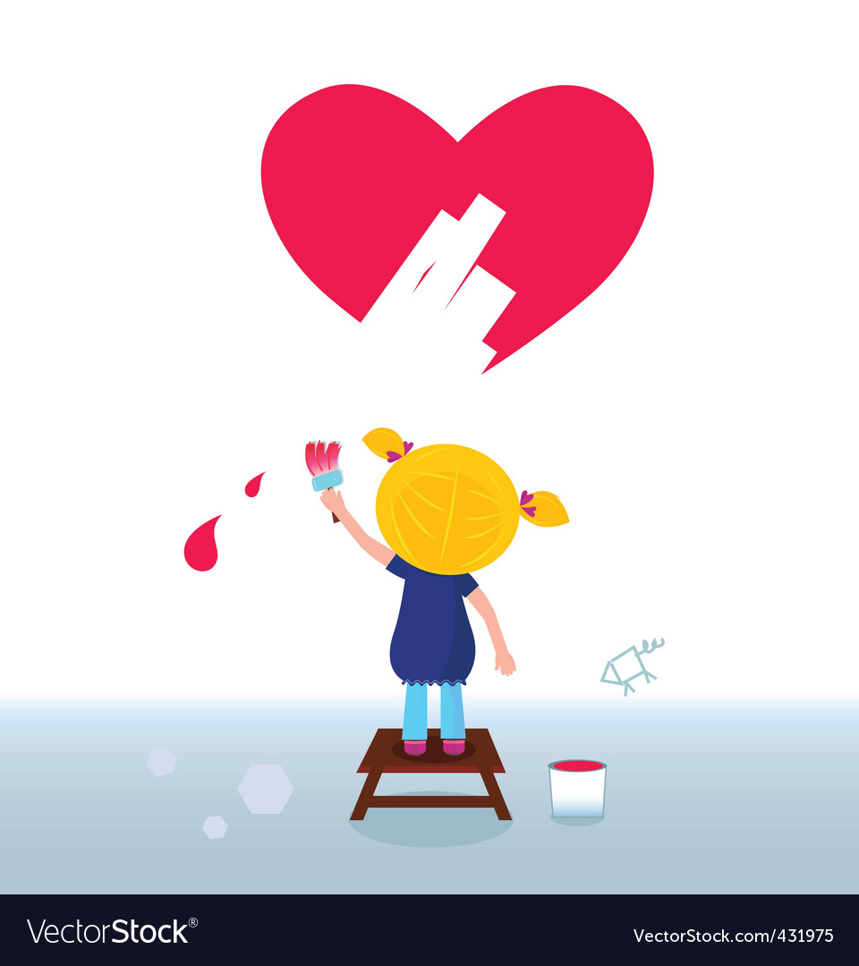Kid painting heart on wall vector | Price: 1 Credit (USD $1)