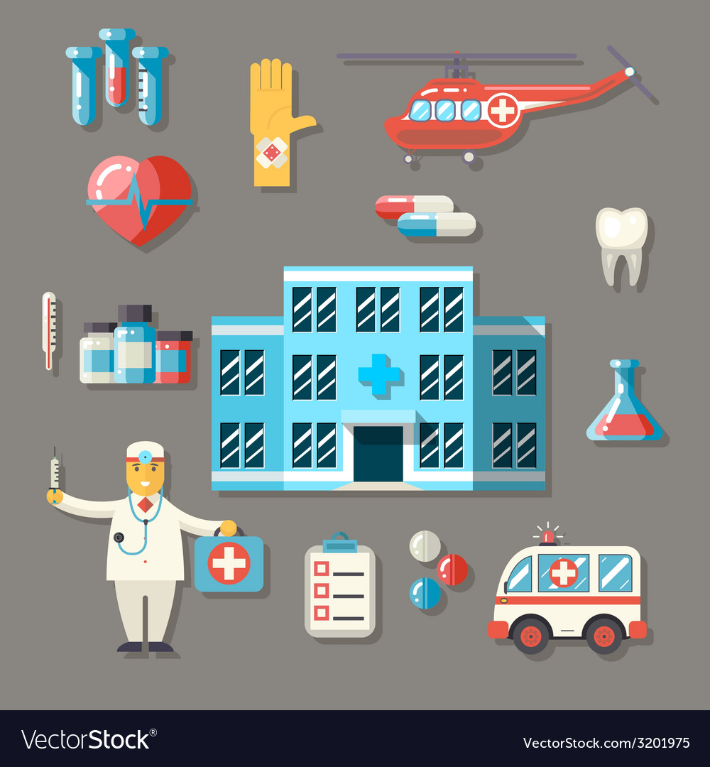 Medical hospital ambulance healthcare doctor flat vector | Price: 1 Credit (USD $1)