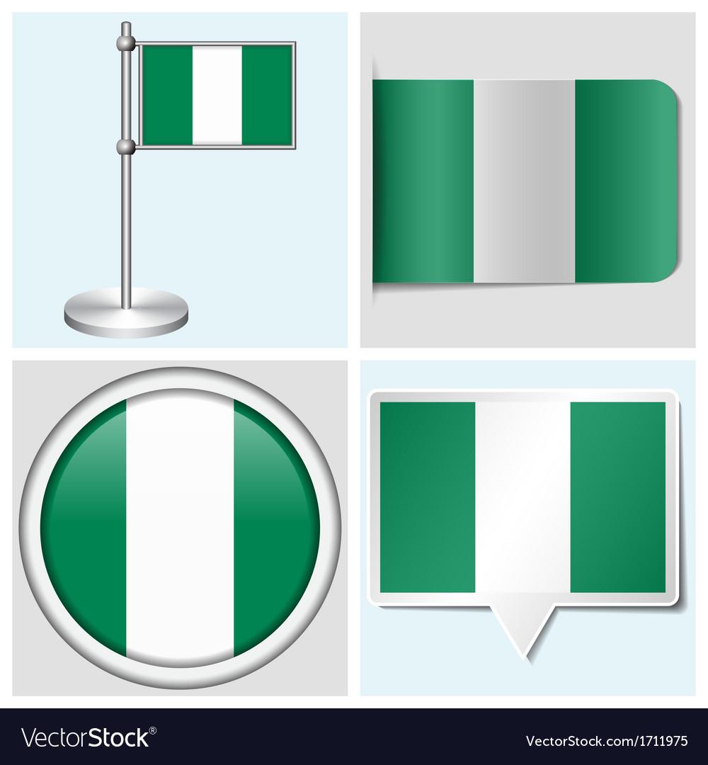 Nigeria flag - sticker button label flagstaff vector | Price: 1 Credit (USD $1)