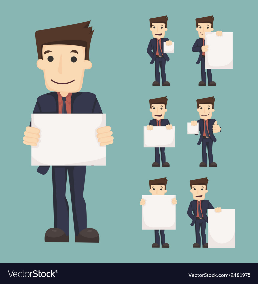 Set of businessman holding blank notes characters vector | Price: 1 Credit (USD $1)