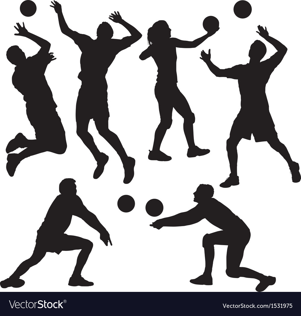 Volleyball silhouette vector | Price: 1 Credit (USD $1)