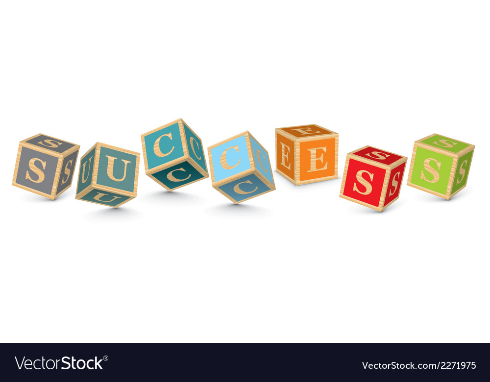 Word success written with alphabet blocks vector | Price: 1 Credit (USD $1)