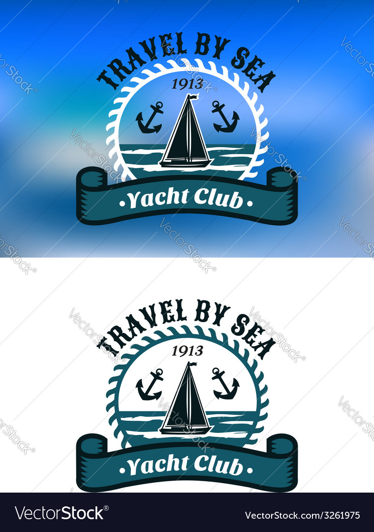 Yacht club emblem or badge vector | Price: 1 Credit (USD $1)
