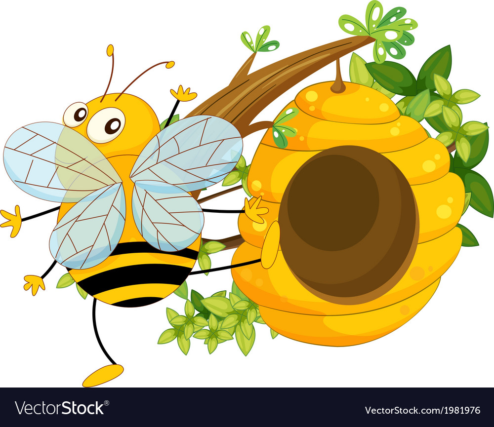 A big fat bee near the beehive vector | Price: 1 Credit (USD $1)