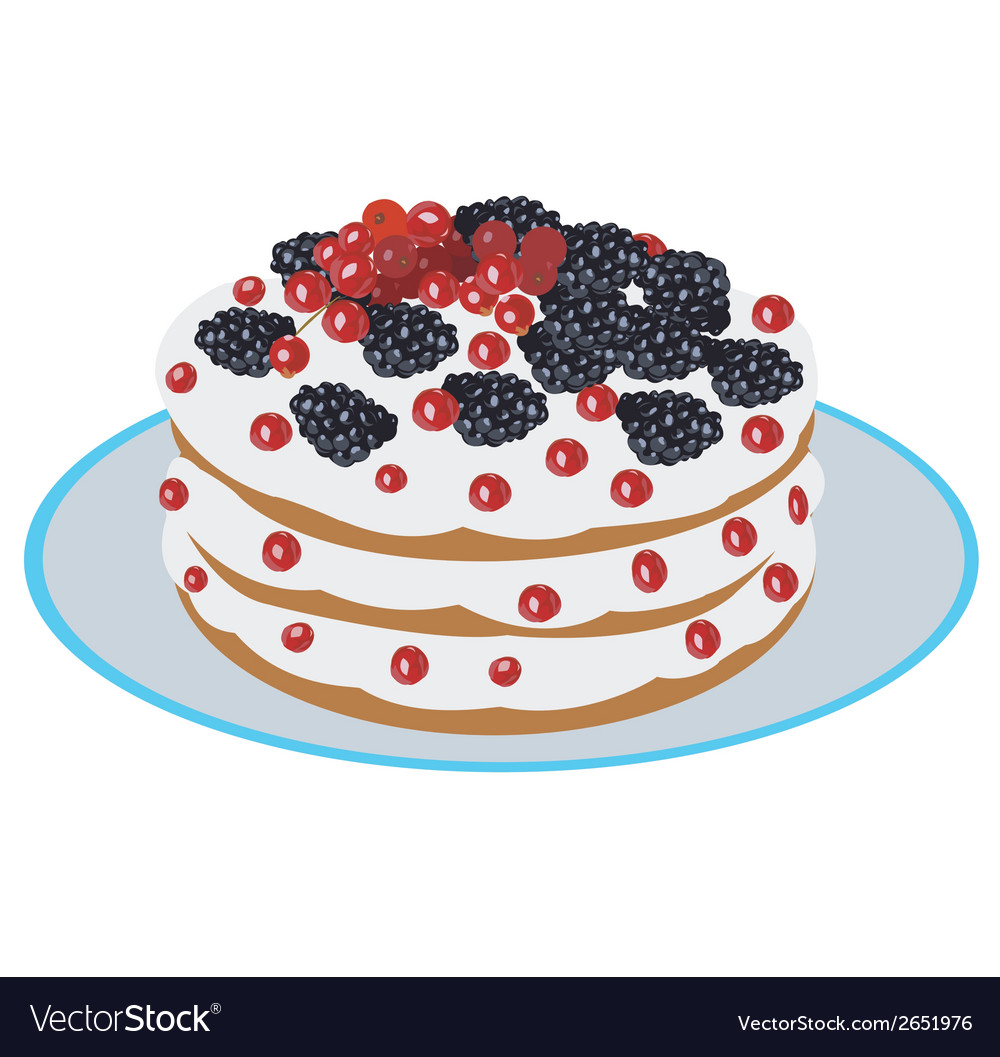 Delicious berry cake vector | Price: 1 Credit (USD $1)