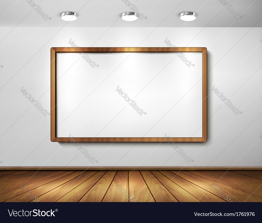 Empty wooden frame on a wall with spotlights and vector | Price: 1 Credit (USD $1)