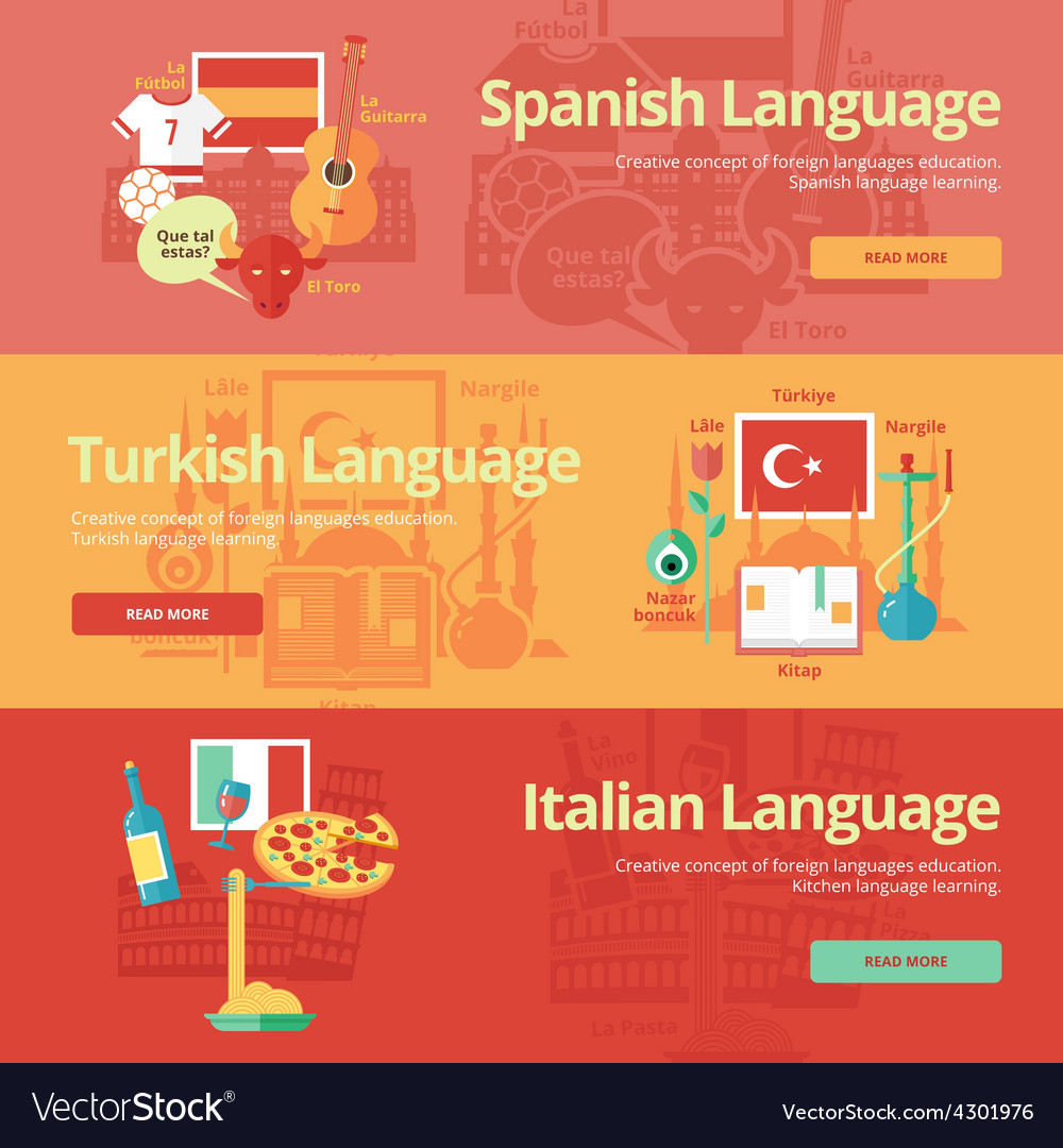 Flat banners for spanish turkish italian vector | Price: 1 Credit (USD $1)