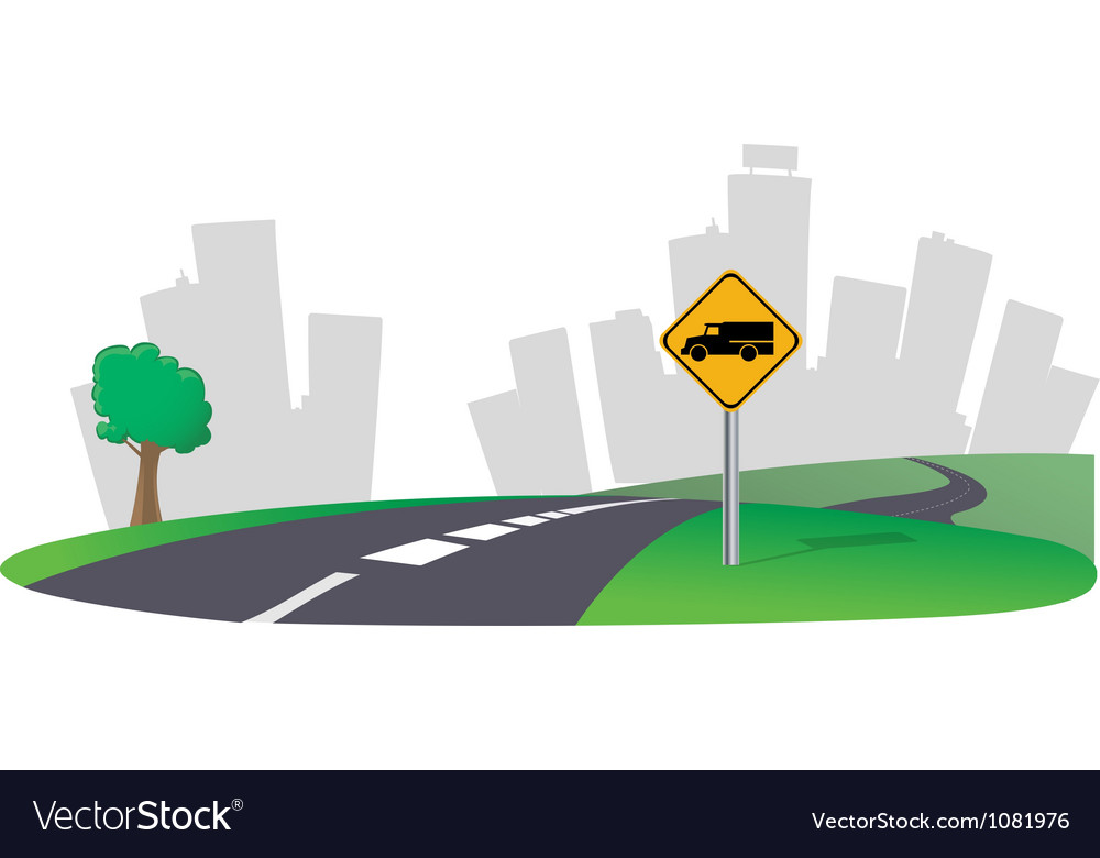 Highway city skyline vector | Price: 1 Credit (USD $1)