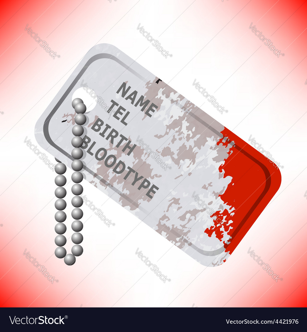 Military dog tag on grey background vector   Price: 1 Credit (USD $1)