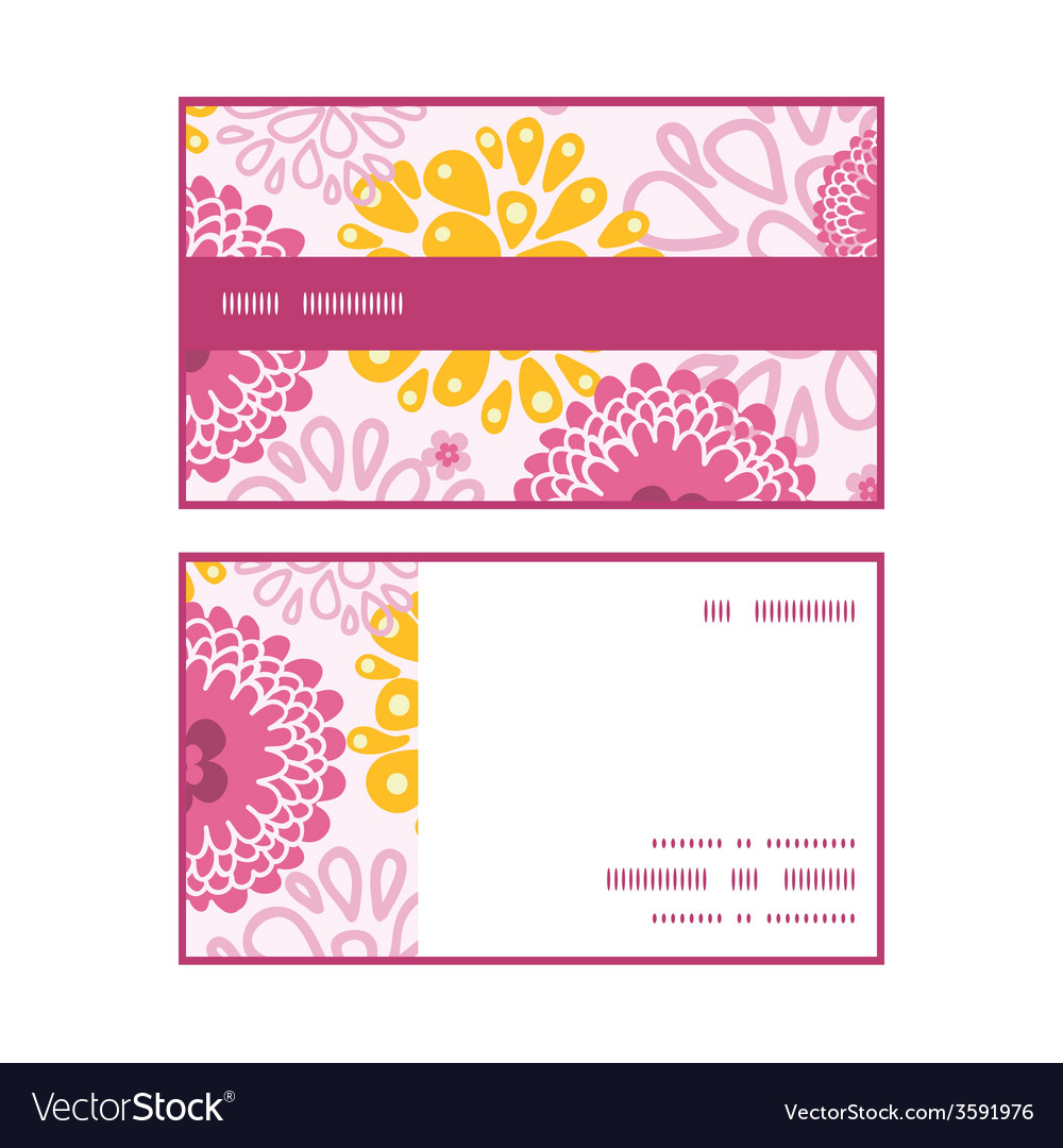 Pink field flowers horizontal stripe frame pattern vector | Price: 1 Credit (USD $1)