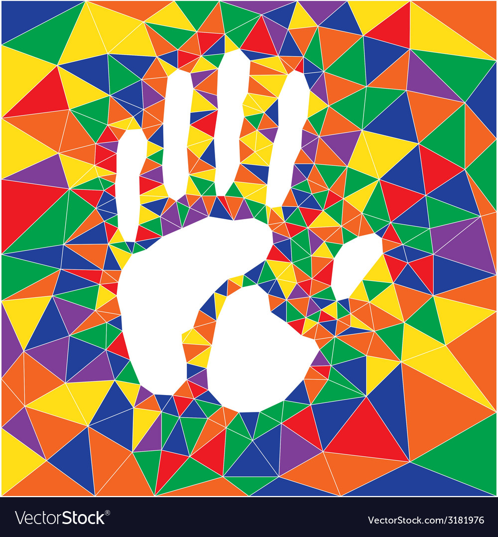 Polygonal color hand print vector | Price: 1 Credit (USD $1)