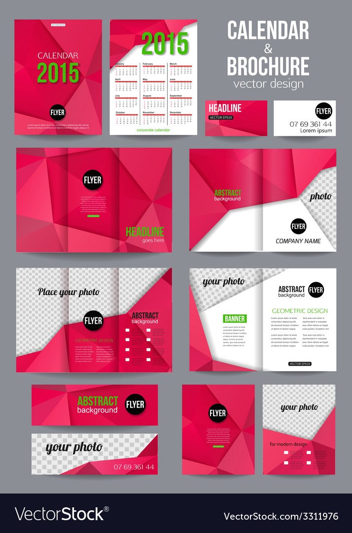 Set of corporate business stationery templates vector | Price: 1 Credit (USD $1)