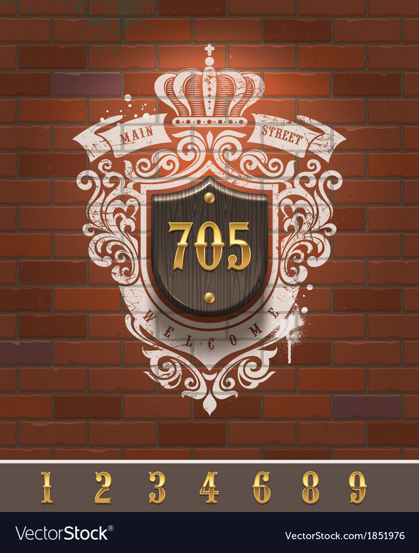 Vintage home number sign on brick wall vector | Price: 1 Credit (USD $1)
