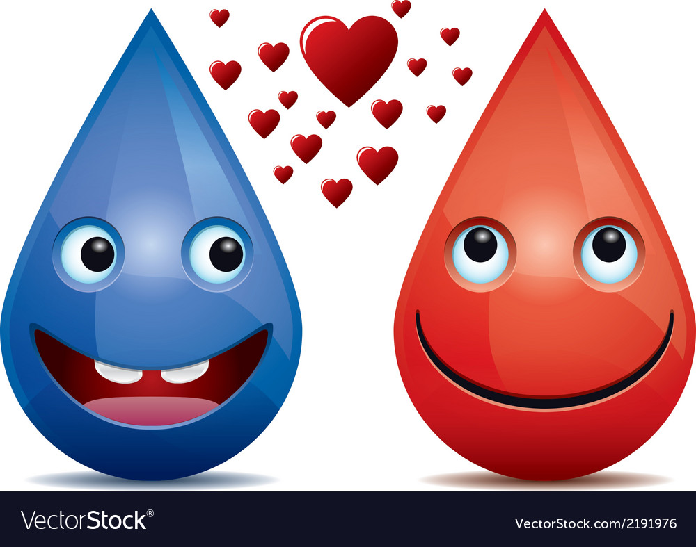 Water drops and drop of blood love vector | Price: 1 Credit (USD $1)