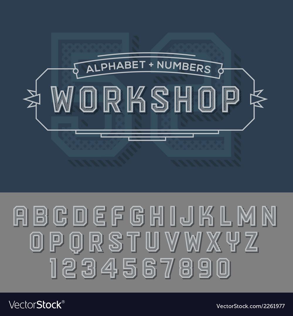 Alphabet numbers retro colour style vector | Price: 1 Credit (USD $1)