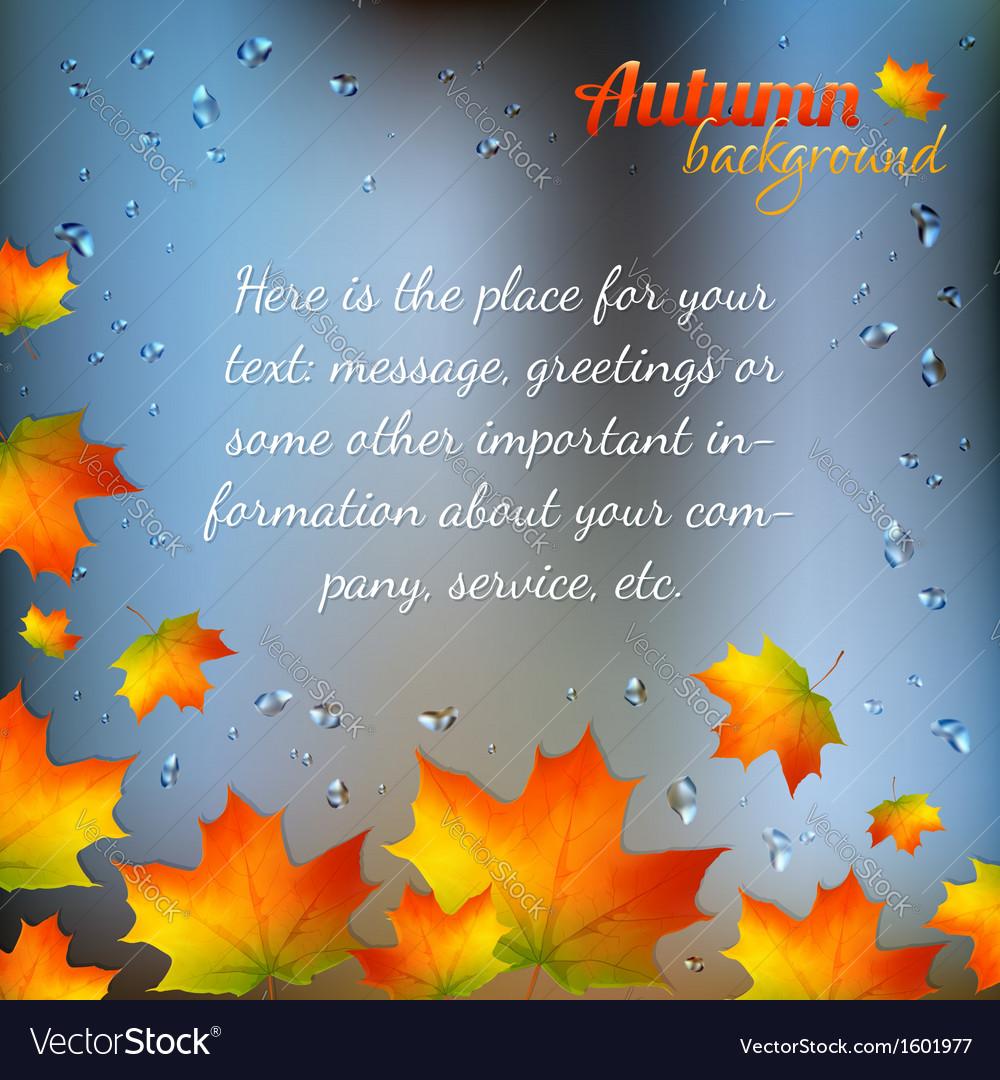 Autumn foliage on wet window vector | Price: 1 Credit (USD $1)