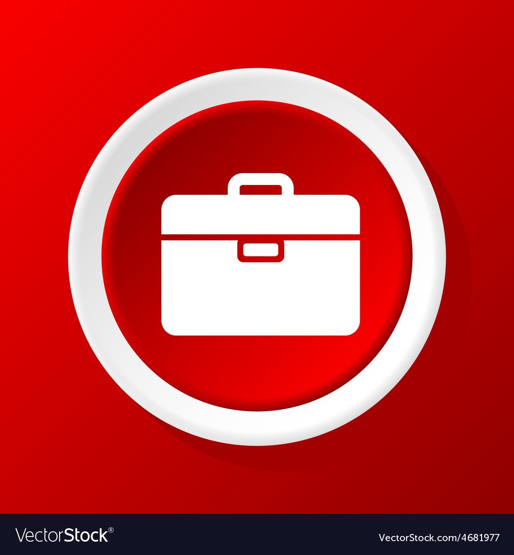 Briefcase icon on red vector | Price: 1 Credit (USD $1)