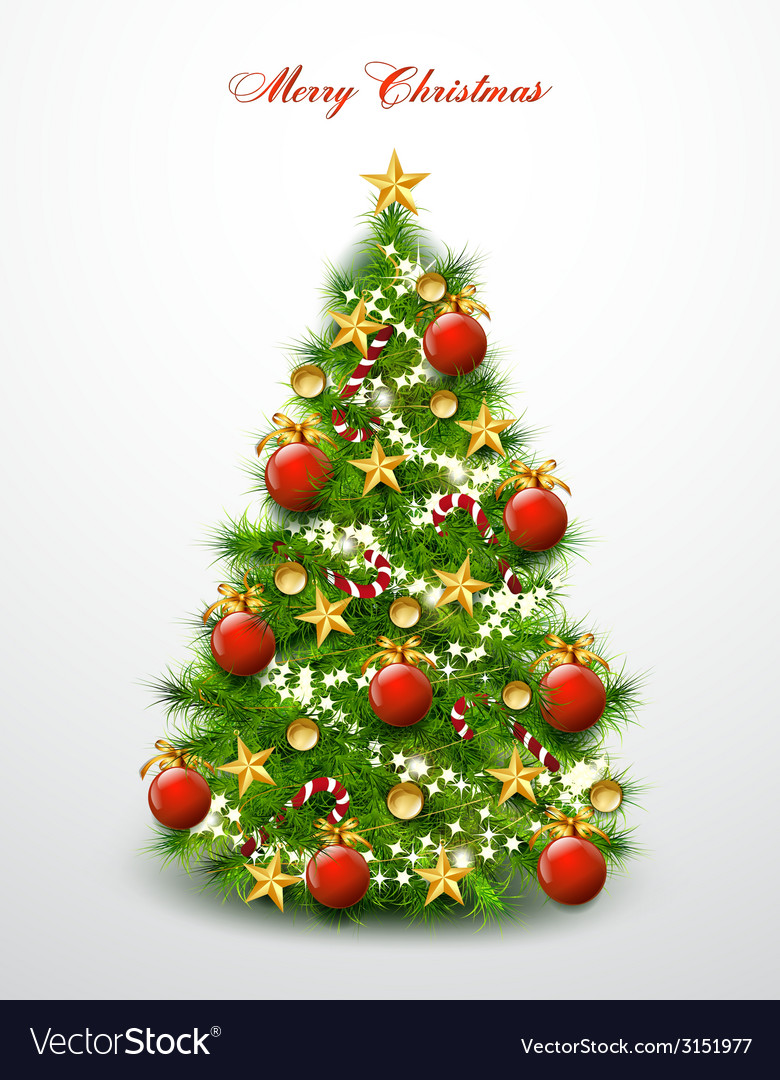 Christmas tree decorated with balls and stars vector | Price: 1 Credit (USD $1)