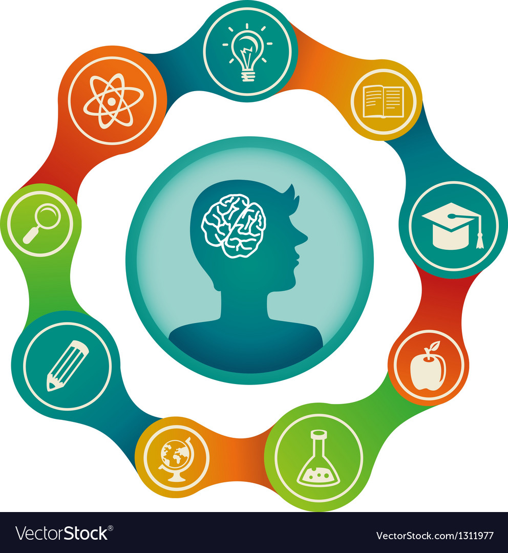 Education concept - brain and creativity vector | Price: 1 Credit (USD $1)