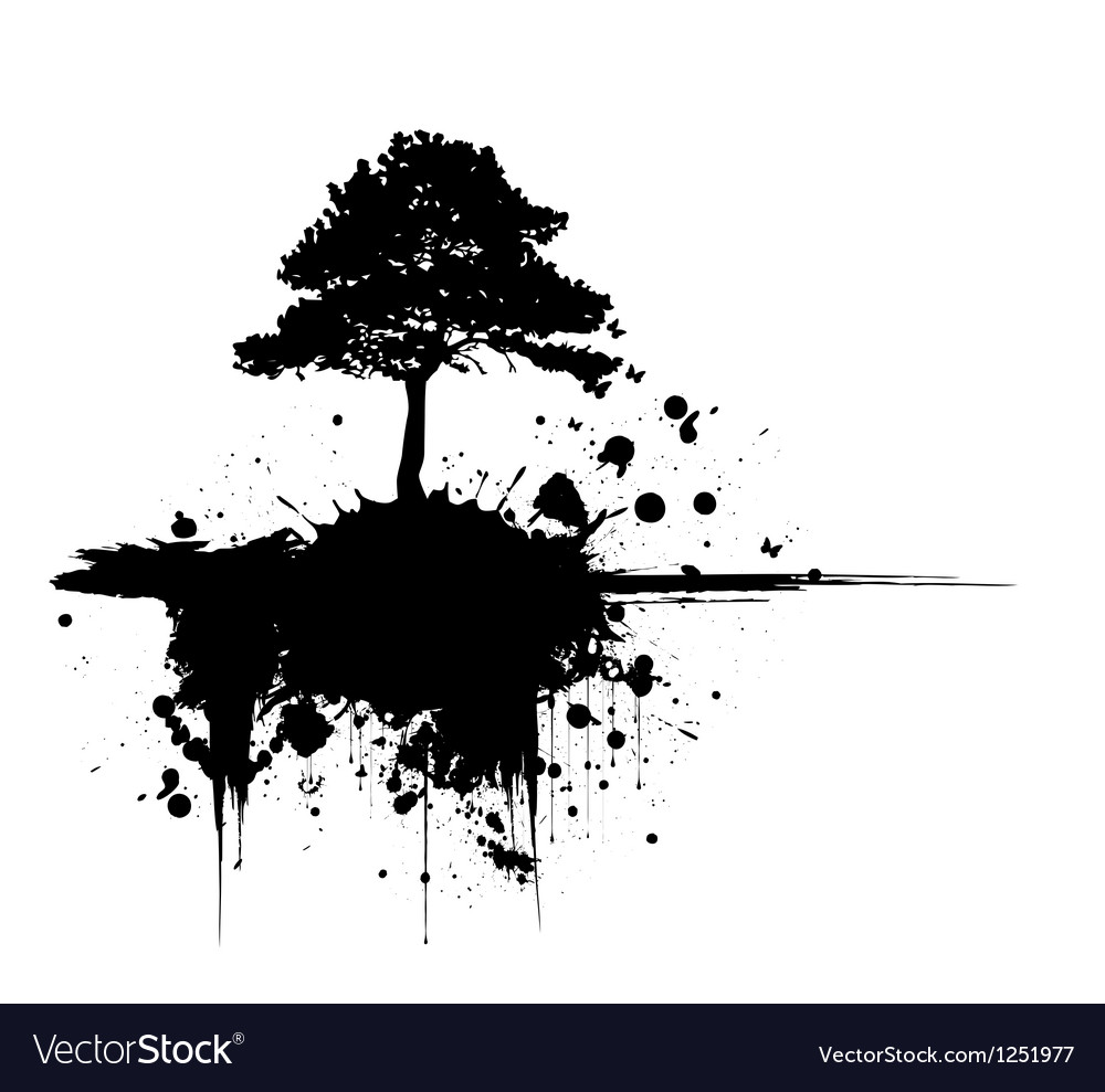 Grunge tree silhouette vector | Price: 1 Credit (USD $1)