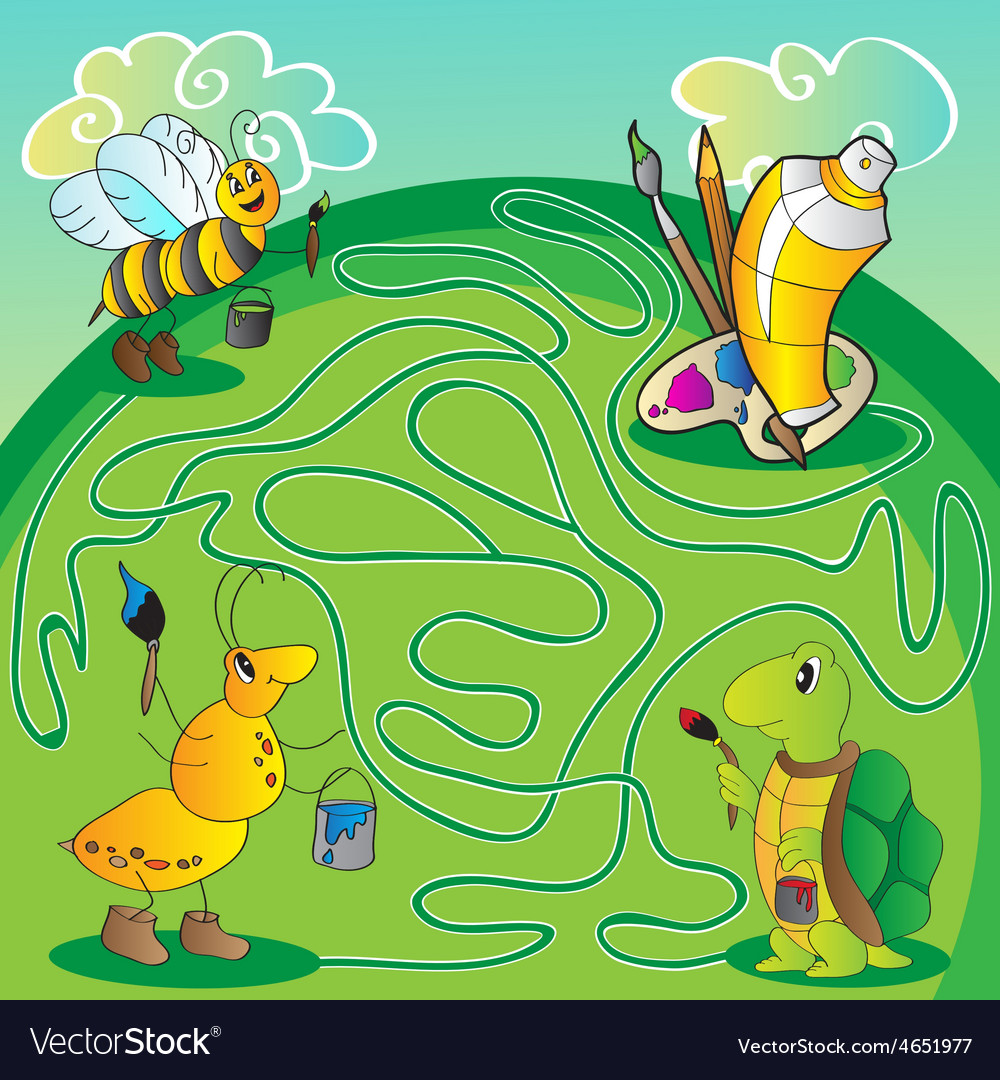 Maze for children - help the turtle ant bee get vector | Price: 1 Credit (USD $1)