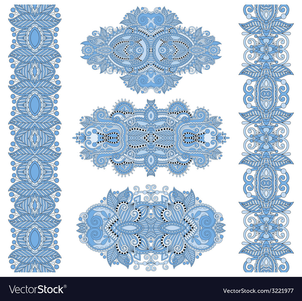 Ornamental floral adornment of blue colour vector | Price: 1 Credit (USD $1)