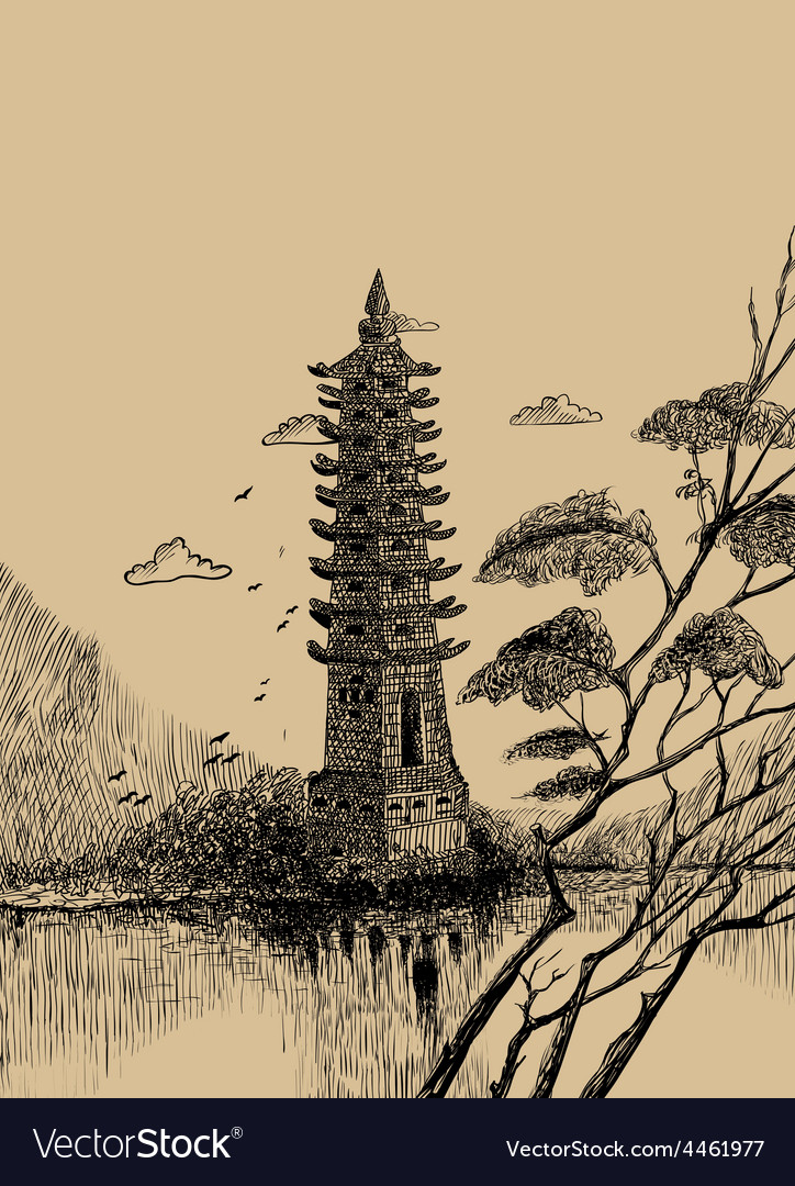Pagoda-sketch vector | Price: 3 Credit (USD $3)