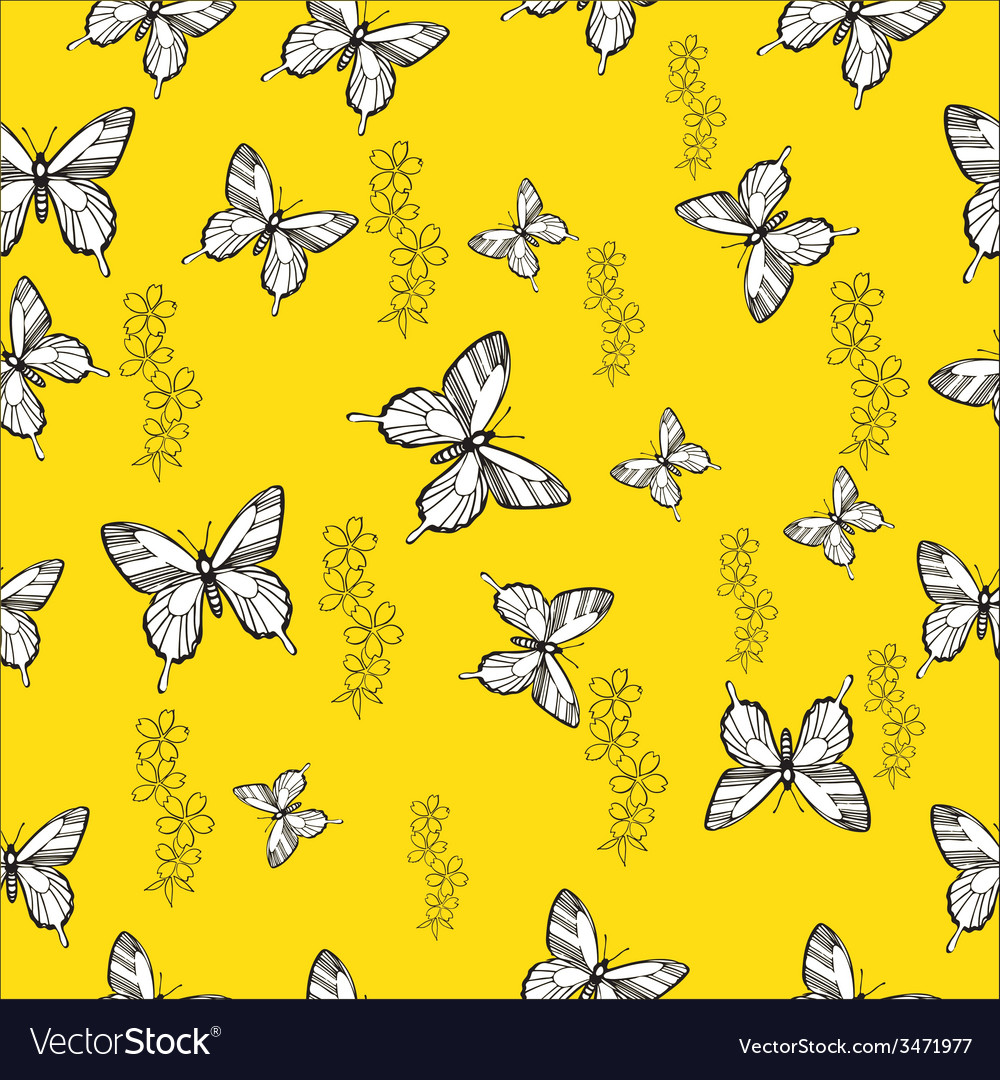 Pattern with butterflies and flowers not seamless vector | Price: 1 Credit (USD $1)