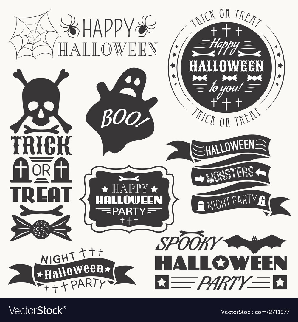 Set of halloween decorative elements vector | Price: 1 Credit (USD $1)