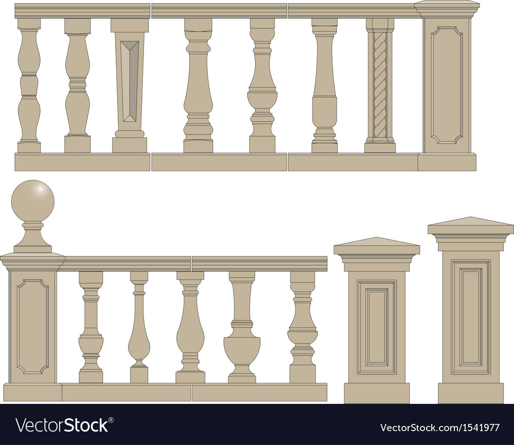 Set of silhouettes balusters vector | Price: 1 Credit (USD $1)