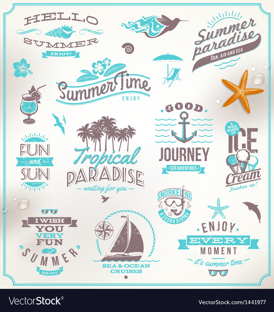 Set of travel and vacation emblems and symb vector | Price: 3 Credit (USD $3)