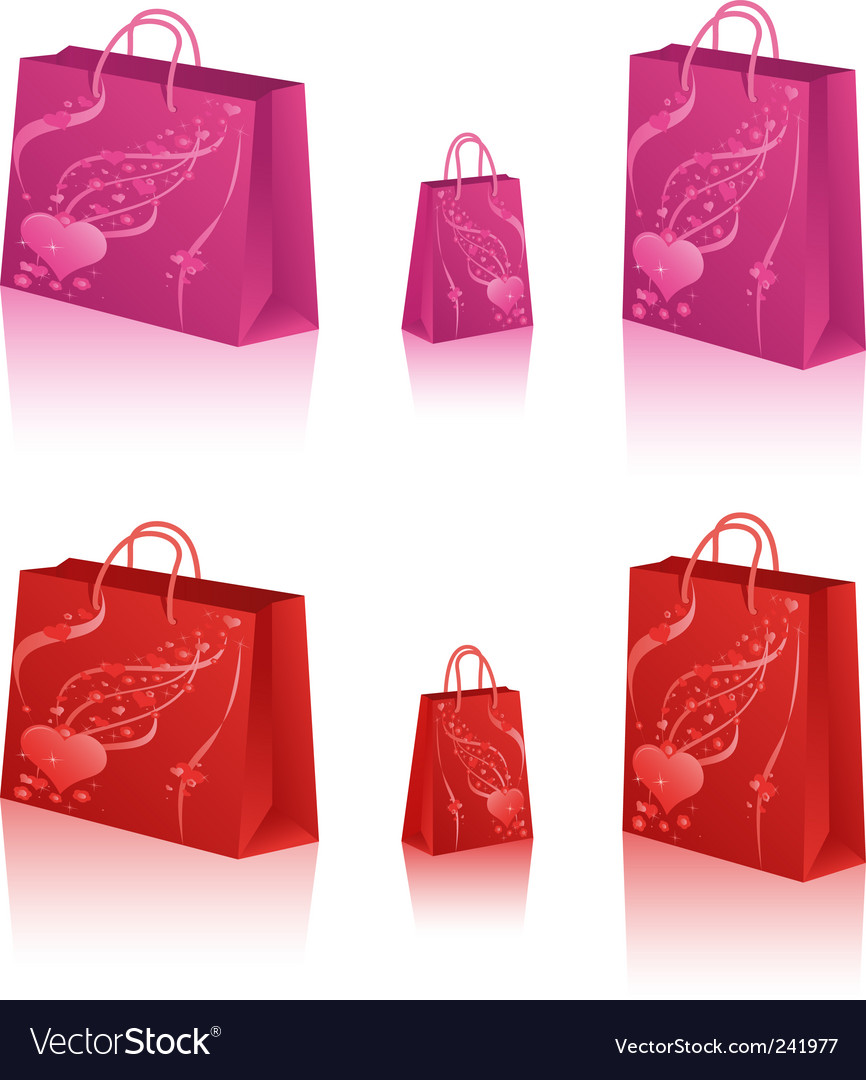 Shopping bags with hearts vector | Price: 1 Credit (USD $1)