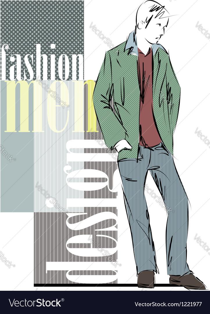 Sketch fashion handsome man vector | Price: 1 Credit (USD $1)