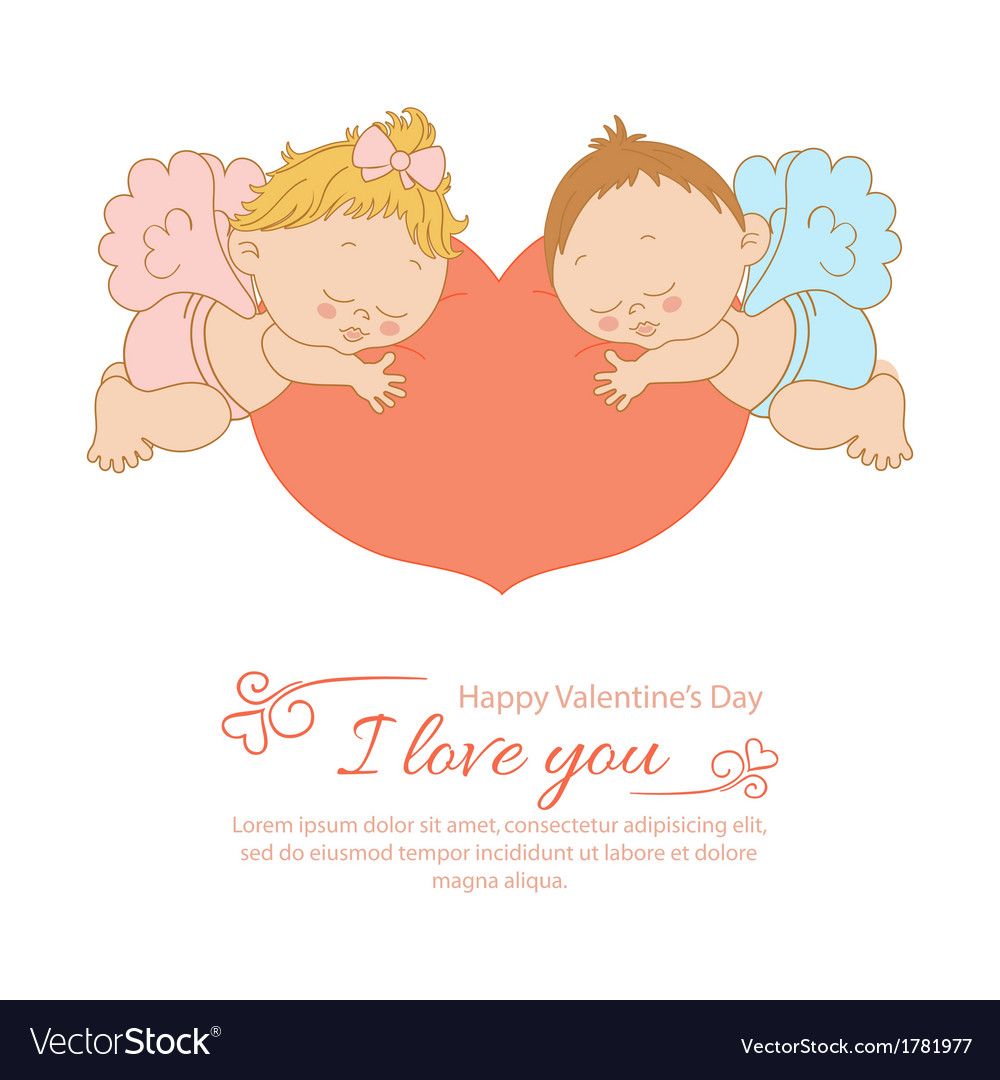 Valentines day card with two angels vector | Price: 1 Credit (USD $1)