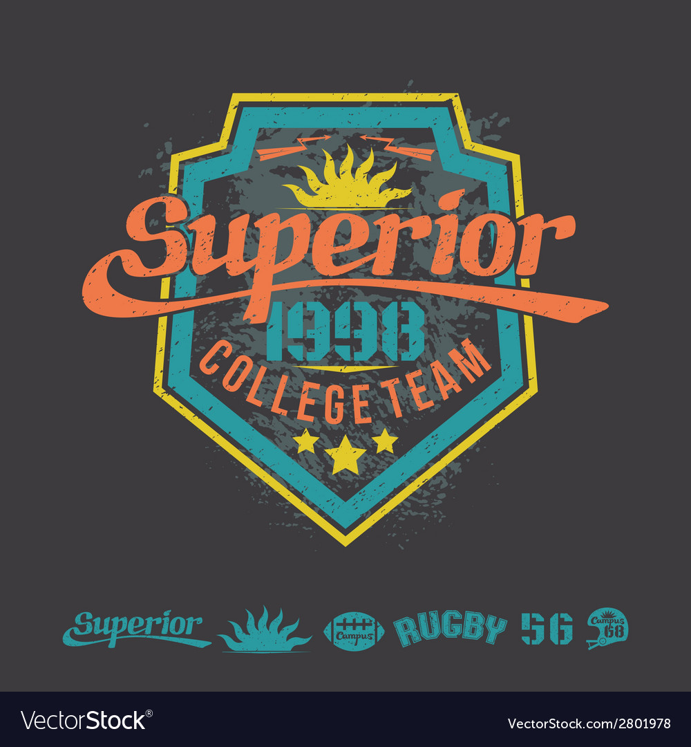 College team rugby emblem and icons vector | Price: 1 Credit (USD $1)