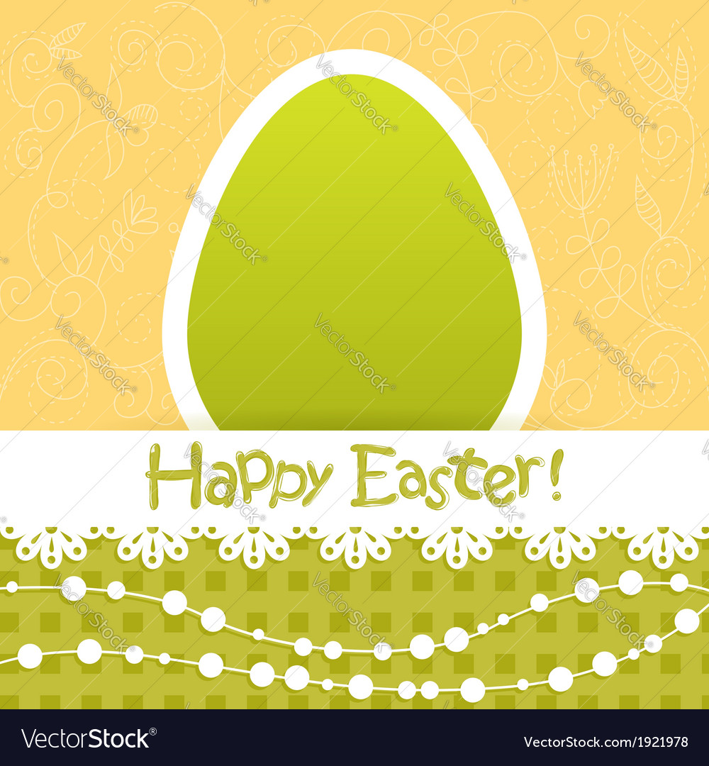 Easter egg floral card with lace and beads vector | Price: 1 Credit (USD $1)