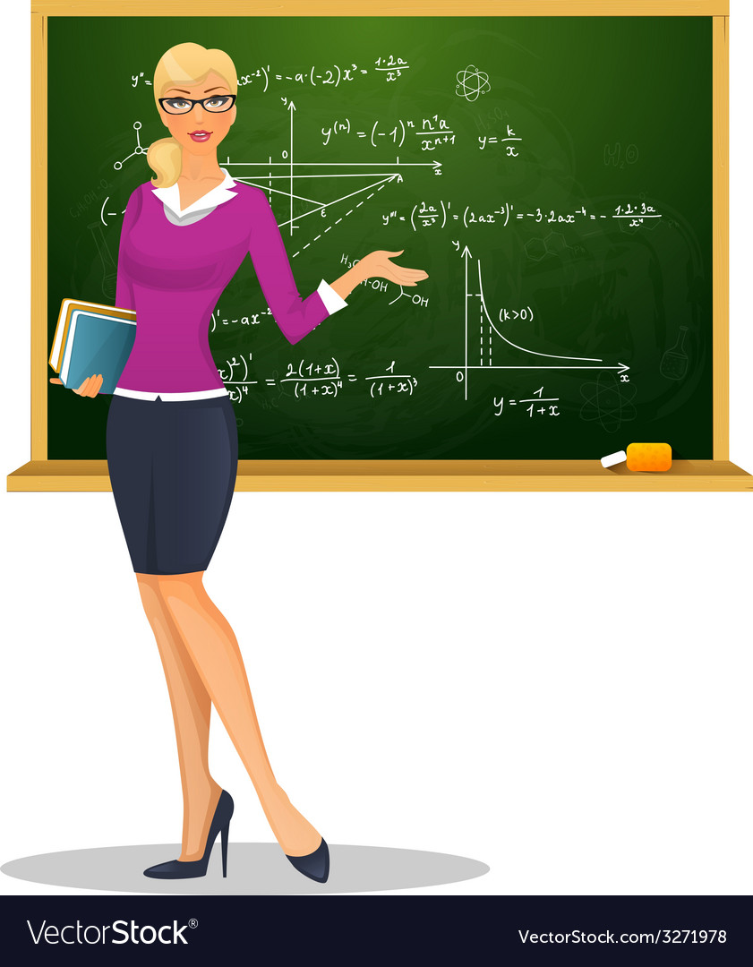 Female teacher with blackboard vector | Price: 1 Credit (USD $1)